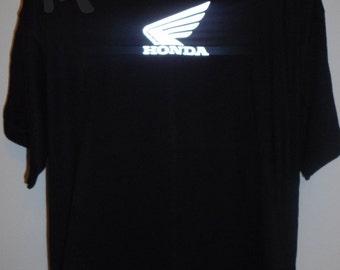 Mens t-shirt HONDA reflective black, cotton