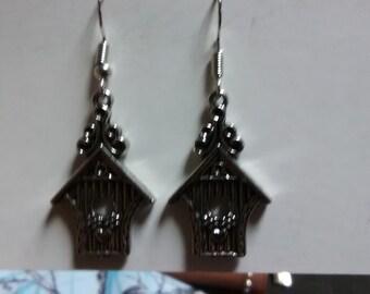 Cute bird house earrings