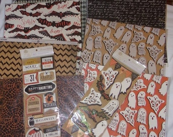 """HALLOWEEN """"BAT-TASTIC"""" by Anna Griffin -  Set of 21 Pc of  12x12 Cardstock  Plus 2 Sets of 3-D STICKERs - Last of Stock !!"""