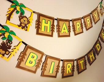 Monkey Banner, monkey birthday banner, monkey baby shower, party banner, monkey theme banner, birthday banner, jungle party banner, banner