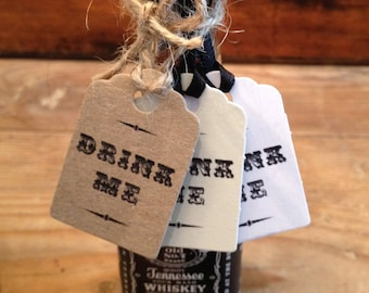 Mini Drink Me tags tied with twine or ribbon x 10