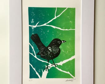 Original Blackbird Print - Hand Carved Lino Hand Printed Black - Mounted A4 size