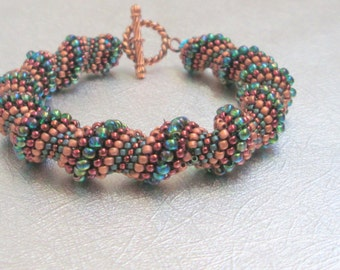 copper and green beaded jewelry cellini bracelet seed bead bracelet summer bracelet festival jewelry gift for her beaded bracelet