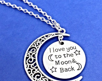 Moon Necklace, I Love You To the Moon And Back, Moon Charm Necklace Jewelry, Moon and Back Gift, Mothers Day Gift Ideas,To The Moon and Back