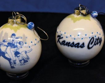 Kansas City Baseball Ceramic Handmade Ornament