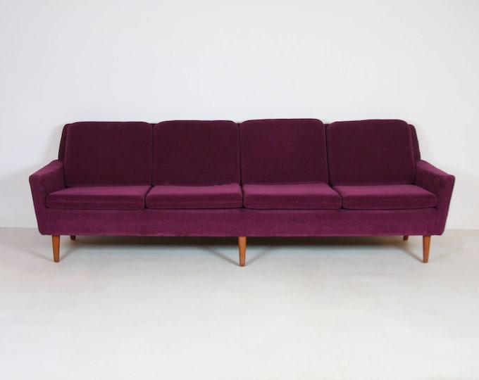Mid Century Modern DUX Four-Seat Purple SOFA By Folke OHLSSON