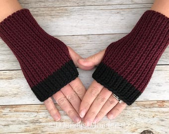 Women's Gift, Hand Warmers, Fingerless Gloves, Knit Texting Gloves, Knit Gloves,  Fingerless Mittens,  Black and Maroon