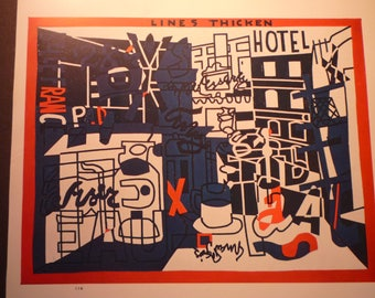 The Paris Bit Stuart Davis - 1953 print of abstract expressionist art - gift for artists  art lovers -matted 8 by 10 and ready to frame
