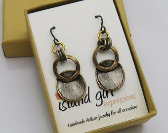 Mixed Metal Earrings, Rustic Earrings, Two Toned Earrings, Bronze and Gray Earrings, Casual Earrings, Long Earrings, Niobium Earrings