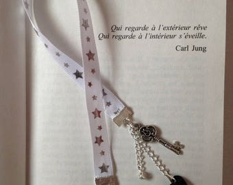Fabric bookmark - Peace and Love and happiness key