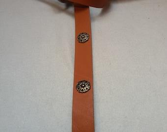 Middle Ages-belt ring-belt cognac-brown 155 cm 4 knots-rivets 100% full-cowhide leather LARP role Play