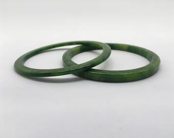 Unique Marbled Green Vintage Plastic Acrylic Resin Bangle Bracelet Set of 2