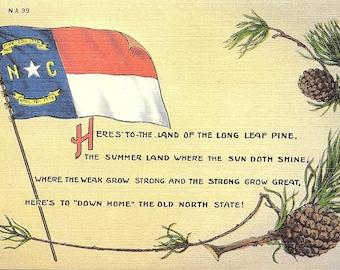 North Carolina, State Flag, State Tree - Vintage Postcard - Postcard - Unused (UU)