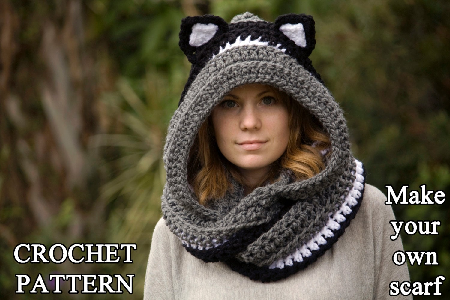 Crochet pattern cat scarf hooded scarf with cat ears cat zoom dt1010fo