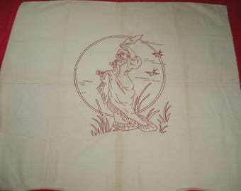 Large Antique Victorian Redwork Hand Embroidery / Figural Woman / Tablecloth / Tapestry / Pillow Sham / Quilt Block