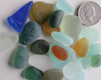 English sea glass colour collection teal, blue,seafoam,orange,yellow ,lime etc, all JQ
