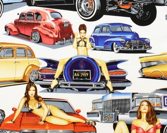 Low and Slow Drag Race Cars Pin Up Women Fabric Alexander Henry BTY 2012