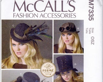McCall's 7335 Pattern, Uncut, 5 Hat Designs by Forme Millinery