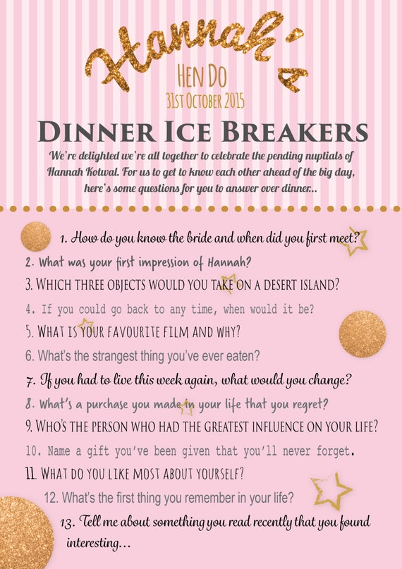 Personalised hen party game ice breaker questions game like this item solutioingenieria Image collections