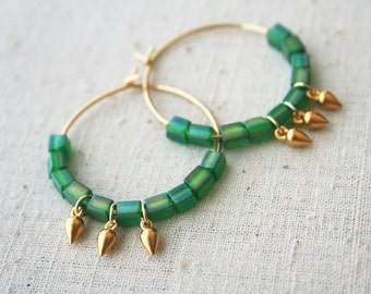 Tribal Hoop Earrings, Vintage Green Glass, Gold Earrings