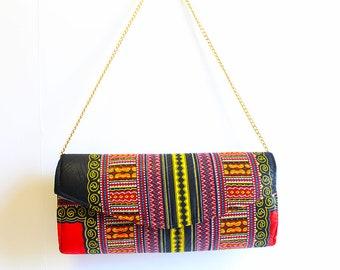 Black Dashiki Clutch, African Print Purse, Dashiki Crossbody Bag, Black Dashiki Fabric, Ankara Clutch Bag, Ankara Purse, Black Dashiki Dress