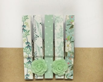 Five different Decorated Clothespins in a set, set of 5 washi tape clothespins, mint green washi tape clips, washi tape decor