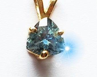 Sapphire Pendant, Unheated Sapphire Pendant, Sapphire Necklace, Montana Sapphire Necklace, Sapphire Trilliant Facet Pendant