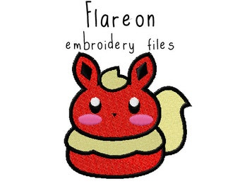 Pokemon Flareon EMBROIDERY MACHINE FILES pattern design hus jef pes dst all formats Instant Download digital applique kawaii cute