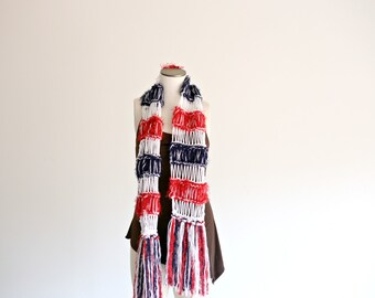 Red, White, Blue Scarf Stripe Scarf Red, White and Navy Blue French Fashion Scarf, Bleu Blanc et Rouge Flag Scarf