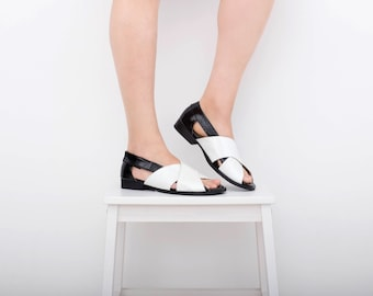 Black and White sandals wide, patent leather sandals women, Flat criss cross handmade adikilav free shipping