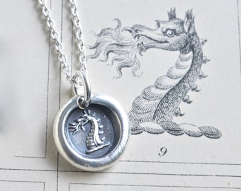 dragon wax seal necklace - fire breathing dragon pendant - protection and valor - fine silver Victorian wax seal jewelry