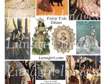 FAIRY TALE DIVAS digital collage sheet, Victorian art fantasy women girls, vintage storybook illustrations, fairy queens, ephemera Download