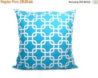15% Off Sale Aqua Pillow - Pillow Covers - Throw Pillow - Aqua Pillowcase - Decorative Pillows - Chain - Lattice Pillow Blue Pillow Cover Ac