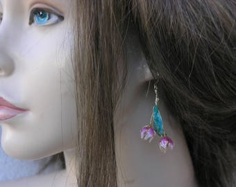 Pink flower earrings, Flower drop earrings, Flower dangle earrings, Pink flowers, Birthday gift for her, Present for sister, Boho flowers.