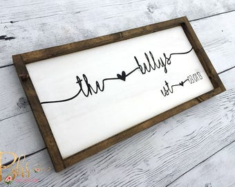 Last Name Sign | Family Name Wood Sign | Custom Wedding Gift | Wedding Establish Sign | Family Established Sign | Housewarming Gift | wood