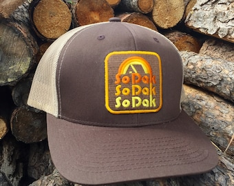 South Dakota Trucker Hat - SoDak Retro Trucker Snapback Cap - SoDak Camping Vintage Style Hat by Oh Geez Design