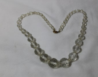 Vintage Art Deco Faceted Clear Crystal Beads Necklace