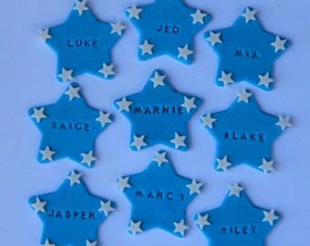12 edible PERSONALISED NAME STAR cupcake cake topper decorations baby shower wedding birthday engagement anniversary tags place marker