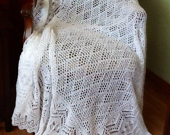 Shetland Tina Shawl with Diamond Centre  MADE TO ORDER