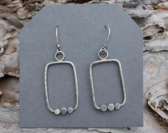 Geometric hoop earrings, rustic hammered silver geometric hoops, modern silver hoops