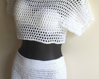 Three Qtr  Net Top with Matching shorts-Small