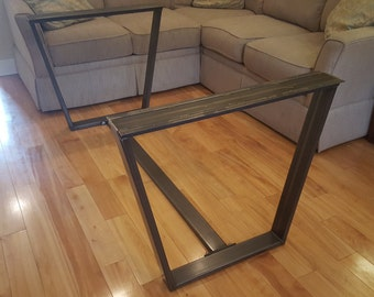 Trapezoid Metal Table Legs With Cross Bar Brace   Steel Table Legs
