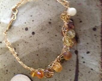 25% off Brass woven beaded bracelet, one of a kind