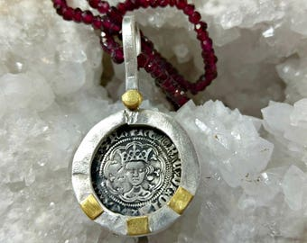 Ancient coin Necklace, Henry VI silver coin and gemstone strand necklace, Ancient Coin Jewelry