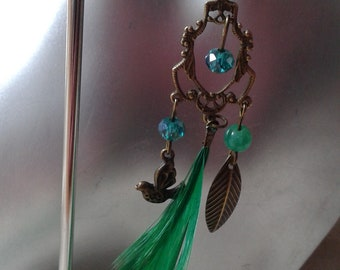 "Earrings ""bronze and light green"""