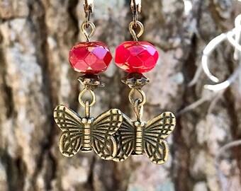 Red Earrings, Bohemian Earrings, Boho Earrings, Bronze Earrings, Butterfly Earrings, Dangle Earrings, Rustic Earrings, Red Boho Earrings