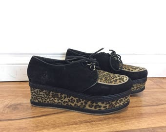 90s Platform Shoes, Flatforms, Lace Up Platform Shoes, Leopard Print Shoes Animal Print Rockabilly Shoes Fabric Shoes Size 8 Us 38 Eu Uk 5.5