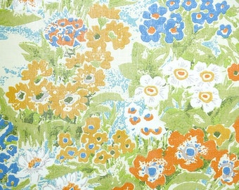 Retro Wallpaper by the Yard 70s Vintage Wallpaper - 1970s Blue Green and Orange Wildflower Floral