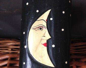 vintage man in the moon wood hand painted hinged box with domed top