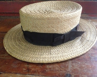 1900s Straw Boater Hat Danbury, Conn. Made Grosgrain Ribbon Bow Small